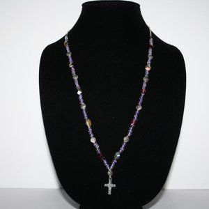Beautiful purple and silver cross necklace 30""